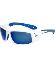 Cebe アイス8000光沢のある白、青サングラス
