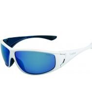 Bolle ハイウッド光沢のある白、青偏オフショアブルーサングラス