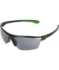Cebe Cinetik大きな光沢のある黒の緑のサングラス