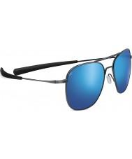Serengeti 空中光沢のあるダークガンメタリック偏555nmの青色ミラーサングラス