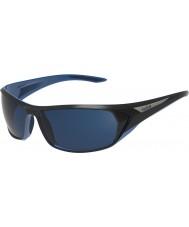 Bolle ブラックテイル光沢のある黒、青偏オフショアブルーサングラス
