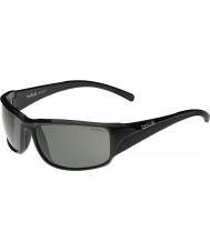 Bolle Keelback光沢のある黒い変調器偏光グレーサングラス