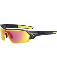Cebe S-印刷光沢のある黒、黄色のサングラス