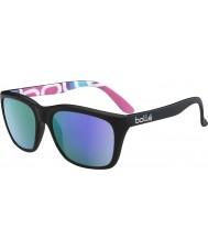 Bolle 527レトロなコレクションマットブラックグラフィック偏青紫色のサングラス