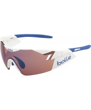 Bolle 第六感光沢のある白が青いサングラスをバラ