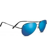 Serengeti ミディアムアビエーター光沢のあるダークガンメタリック偏555nmの青色ミラーサングラス