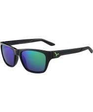 Cebe ハッカー光沢のある黒緑1500グレーフラッシュミラーグリーンサングラス