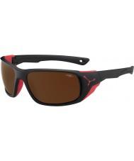 Cebe Jorasses大つや消し黒、赤2000ブラウンフラッシュミラーサングラス