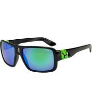 Cebe ラム光沢のある黒の緑のサングラス