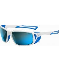 Cebe Proguide光沢のある白、青4000グレーミネラルブルーサングラス