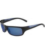 Bolle 熾烈な光沢のある黒、青偏オフショアブルーサングラス