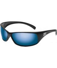 Bolle 光沢のある黒の偏オフショア青いサングラスを反動