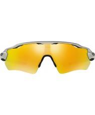 Oakley Oo9208-02レーダーEVパス銀 - 火災イリジウムサングラス