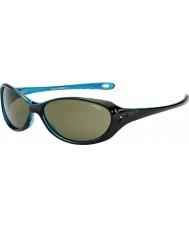 Cebe コアラ(年齢7-10)光沢のある黒のクリスタルブルーのサングラス