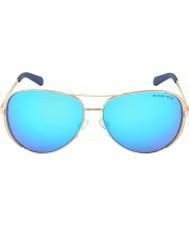 Michael Kors Mk5004は59チェルシーローズゴールド100325青いサングラスをミラーリング